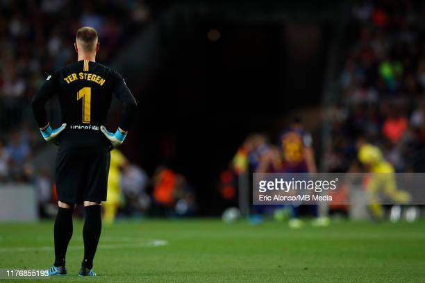 Marc Andre Ter Stegen follows the action during the Liga match between FC Barcelona and Villarreal CF at Camp Nou on September 24, 2019 in Barcelona,...