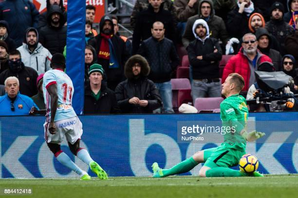 Marc Andre Ter Stegen from Germany of FC Barcelona during the La Liga match between FC Barcelona v Celta de Vigo at Camp Nou Stadium on December 2...