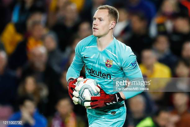 Marc Andre Ter Stegen of FC Barcelona catch the ball during the Liga match between FC Barcelona and Real Sociedad at Camp Nou on March 07, 2020 in...