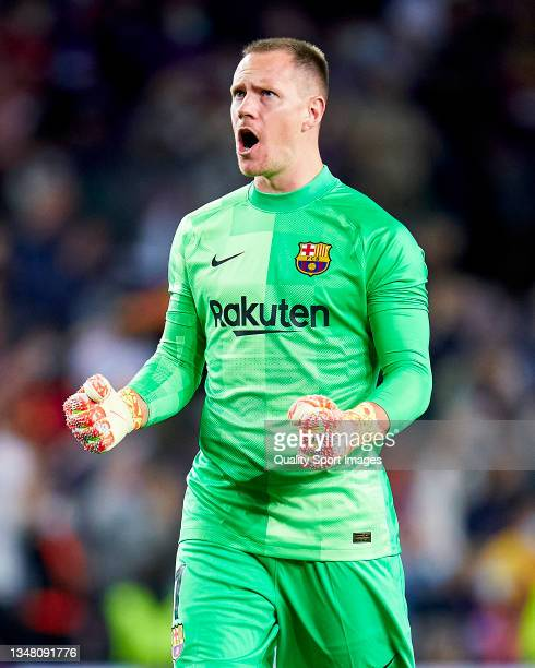 Marc Andre Ter Stegen of FC Barcelona celebrates his team's first goal during the UEFA Champions League group E match between FC Barcelona and Dinamo...
