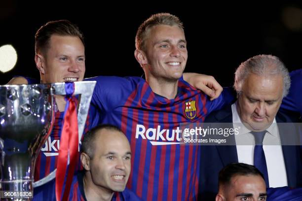 Marc Andre ter Stegen of FC Barcelona Jasper Cillessen of FC Barcelona Andries Iniesta of FC Barcelona during the La Liga Santander match between FC...