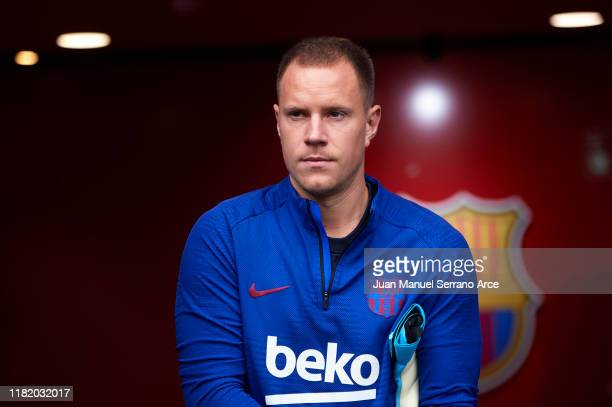 Marc Andre Ter Stegen of FC Barcelona looks on during the warm up prior to the Liga match between SD Eibar SAD and FC Barcelona at Ipurua Municipal...