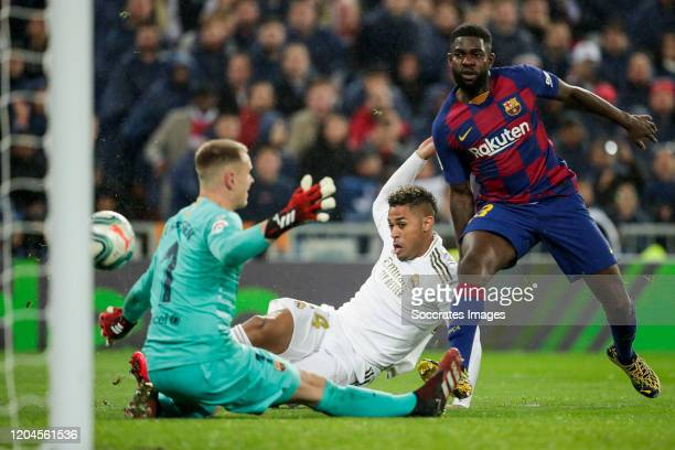 Marc Andre ter Stegen of FC Barcelona Mariano of Real Madrid Samuel Umtiti of FC Barcelona scores the first goal to make it 20 during the La Liga...