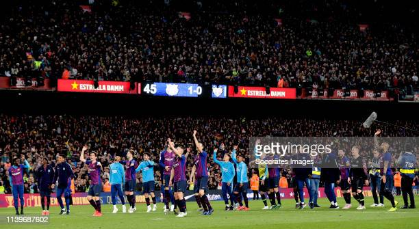 Marc Andre ter Stegen of FC Barcelona Nelson Semedo of FC Barcelona Gerard Pique of FC Barcelona Ivan Rakitic of FC Barcelona Sergio Busquets of FC...