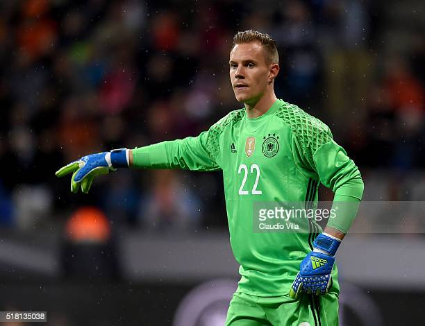 Marc Andre terStegen of Germany reacts during the international friendly match between Germany and Italy at Allianz Arena on March 29 2016 in Munich...