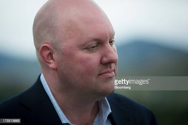 Marc Andreessen cofounder and general partner of Andreessen Horowitz speaks during a Bloomberg Television interview on the sidelines of the Allen Co...
