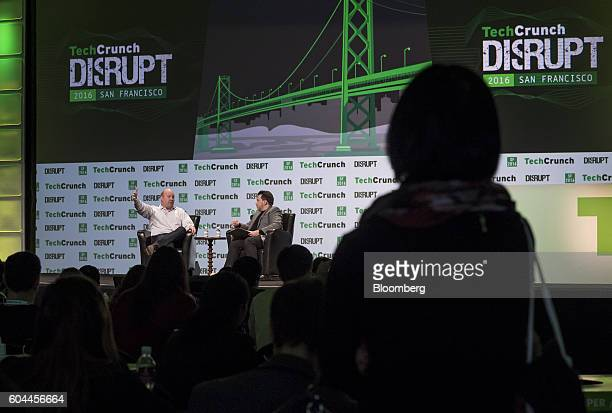 Marc Andreessen cofounder and general partner of Andreessen Horowitz left speaks during the TechCrunch Disrupt San Francisco 2016 Summit in San...