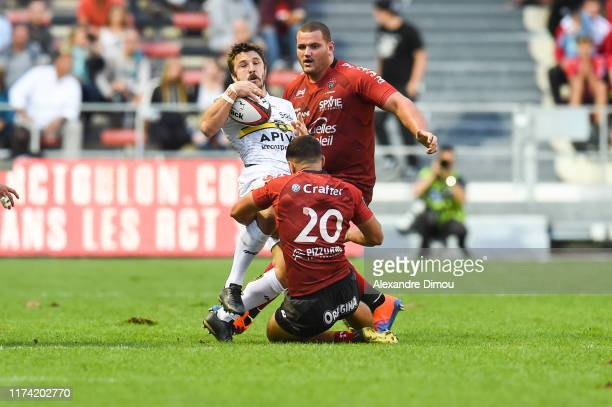 Marc ANDREU of LA Rochelle and JeanBaptiste GROS of Toulon and Mathieu SMAILI of Toulon during the Top 14 match between Toulon and La Rochelle at...