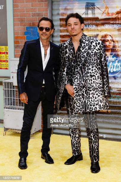 """Marc Anthony and Anthony Ramos attend the """"In The Heights"""" Opening Night Premiere during the 2021 Tribeca Festival at United Palace Theater on June..."""