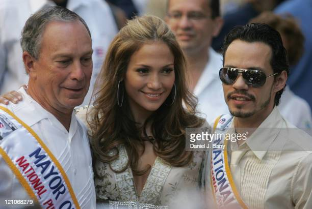 Marc Anthony and Jennifer Lopez and New York City Mayor Mike Bloomberg at the Puerto Rican Day parade up 5th Avenue Sunday June 112007 in New York