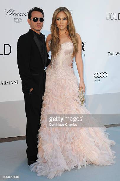 Marc Anthony and Jennifer Lopez arrive at amfAR's Cinema Against AIDS 2010 benefit gala at the Hotel du Cap on May 20, 2010 in Antibes, France.