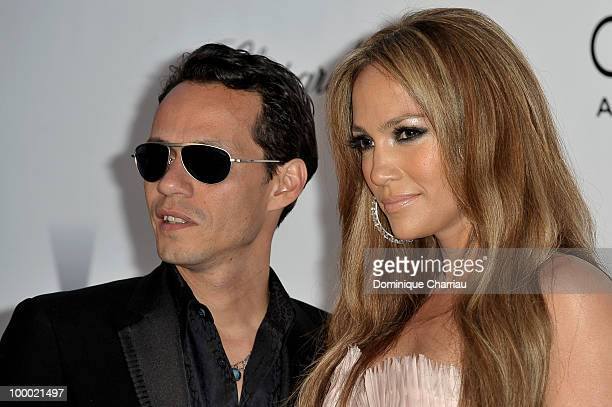 Marc Anthony and Jennifer Lopez arrive at amfAR's Cinema Against AIDS 2010 benefit gala at the Hotel du Cap on May 20 2010 in Antibes France