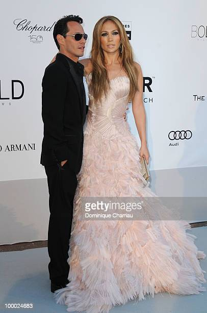 Marc Anthony and Jennifer Lopez arrives at amfAR's Cinema Against AIDS 2010 benefit gala at the Hotel du Cap on May 20, 2010 in Antibes, France.