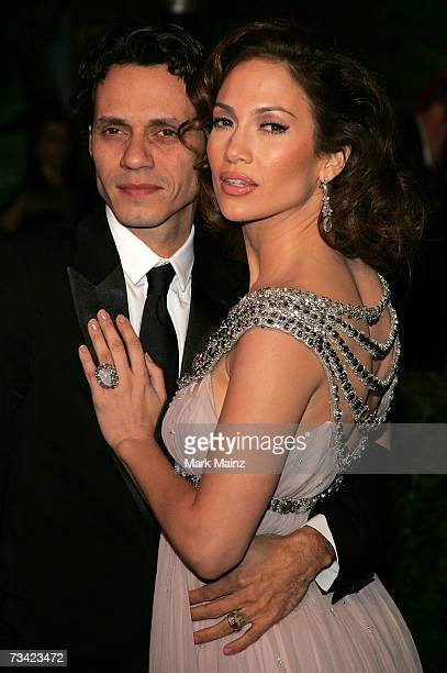 Marc Anthony and Jennifer Lopez arrives at the 2007 Vanity Fair Oscar Party at Mortons on February 25, 2007 in West Hollywood, California.