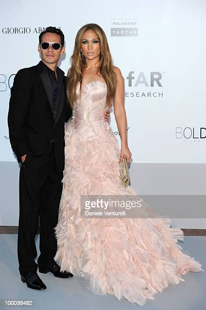 Marc Anthony and Jennifer Lopez attend amfAR's Cinema Against Aids Gala at the Hotel Du Cap during the 63rd International Cannes Film Festival on May...