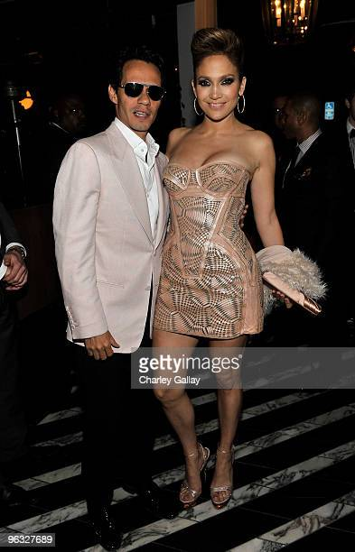 Marc Anthony and Jennifer Lopez attend Antonio 'LA' Reid's PostGRAMMY Dinner Hosted by JayZ at Cecconi's Restaurant on January 31 2010 in Los Angeles...
