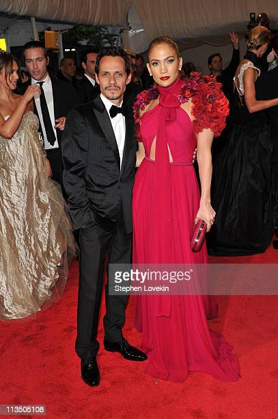 Marc Anthony and Jennifer Lopez attend the Alexander McQueen Savage Beauty Costume Institute Gala at The Metropolitan Museum of Art on May 2 2011 in...