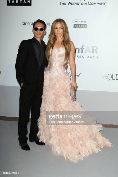 Marc Anthony and Jennifer Lopez attend the amfAR Cinema Against AIDS 2010 at the Hotel du Cap during the 63rd Annual Cannes Film Festival on May 20,...