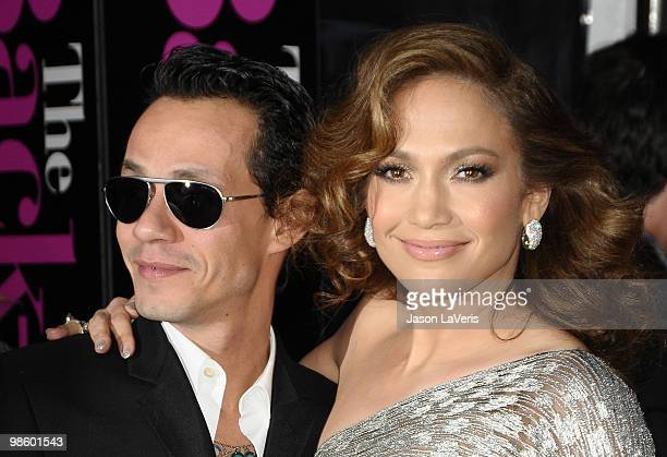 Marc Anthony and Jennifer Lopez attend the premiere of 'The BackUp Plan' at Regency Village Theatre on April 21 2010 in Westwood California