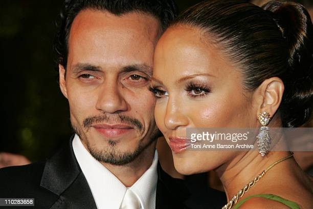 Marc Anthony and Jennifer Lopez during 2006 Vanity Fair Oscar Party Hosted by Graydon Carter Arrivals at Morton's in West Hollywood California United...