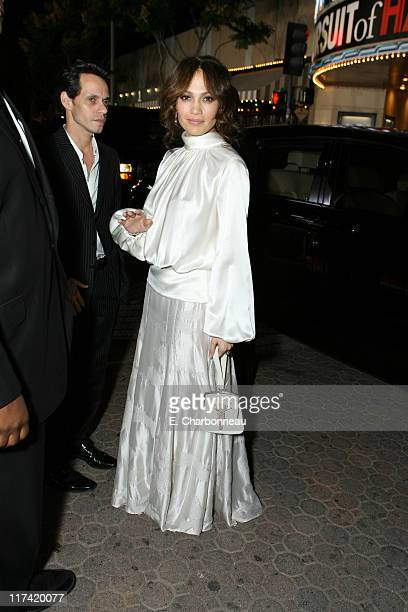 """Marc Anthony and Jennifer Lopez during The World Premiere of Columbia Pictures' """"The Pursuit of Happyness"""" at Mann Village in Westwood, CA, United..."""