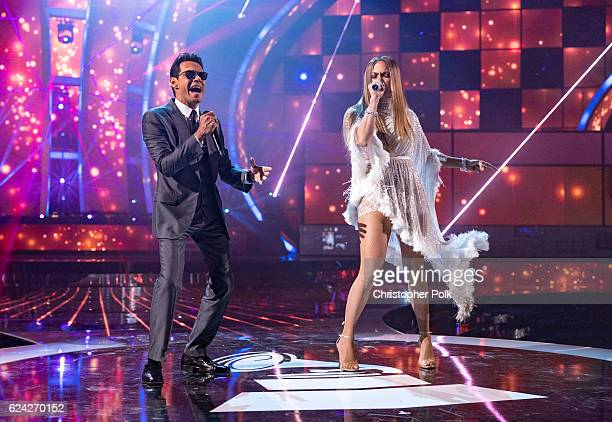 Marc Anthony and Jennifer Lopez perform onstage during The 17th Annual Latin Grammy Awards at TMobile Arena on November 17 2016 in Las Vegas Nevada