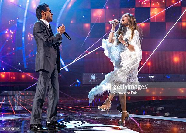 Marc Anthony and Jennifer Lopez perform onstage during The 17th Annual Latin Grammy Awards at T-Mobile Arena on November 17, 2016 in Las Vegas,...