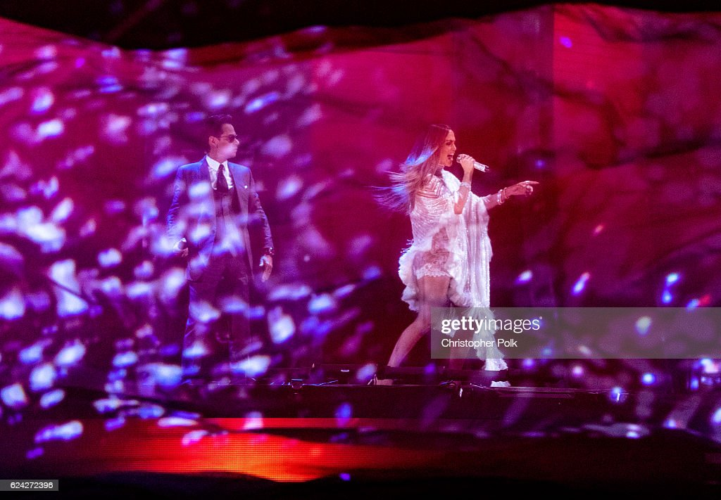 Marc Anthony (L) and Jennifer Lopez perform onstage during The 17th Annual Latin Grammy Awards at T-Mobile Arena on November 17, 2016 in Las Vegas, Nevada.