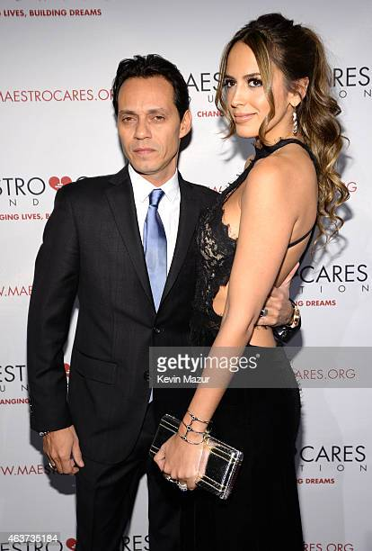 Marc Anthony and Shannon De Lima attend Maestro Cares Second Annual Gala Dinner at Cipriani Wall Street on February 17 2015 in New York City