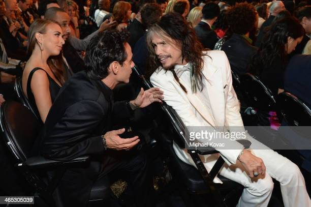 Marc Anthony and Steven Tyler attend the 56th GRAMMY Awards at Staples Center on January 26 2014 in Los Angeles California