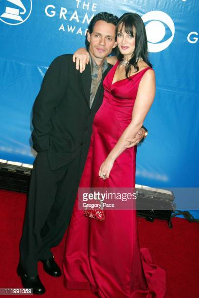 Marc Anthony and wife Dayanara Torres during The 45th Annual GRAMMY Awards Arrivals by Gregory Pace at Madison Square Garden in New York NY United...