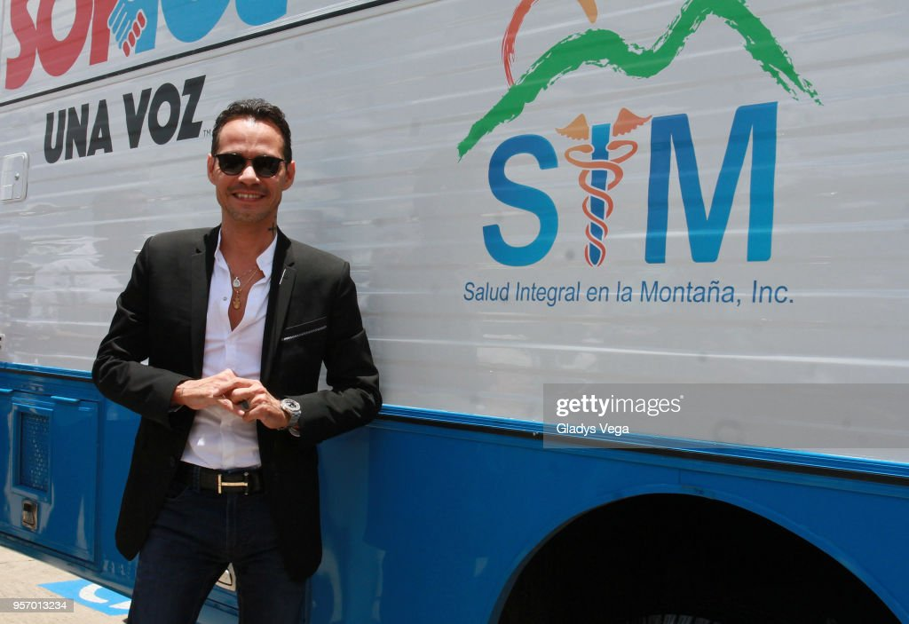 Marc Anthony attends an event where 'SOMOS + SALUD' delivers state of the art mobile pediatric clinic and makes a 300,000 donation to local organization on May 10, 2018 in Orocovis, Puerto Rico.