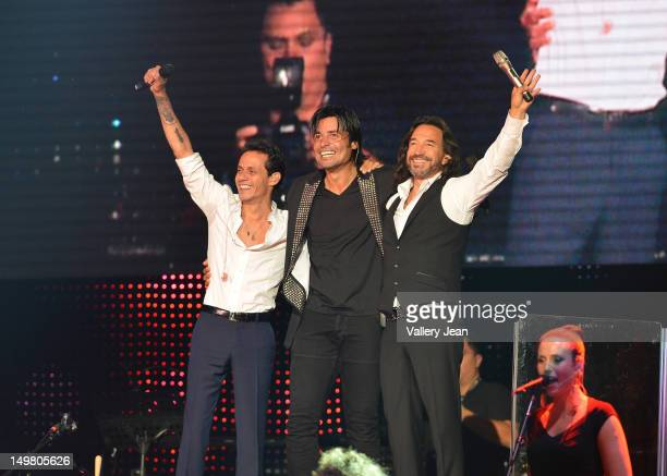 Marc Anthony, Chayanne and Marco Antonio Solis perform during the tour opener at AmericanAirlines Arena on August 3, 2012 in Miami, Florida.