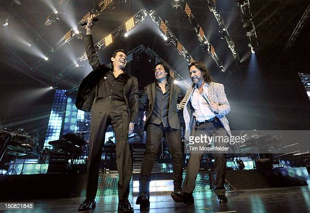 Marc Anthony, Chayanne, and Marco Antonio Solis perform the Finale of the Gigant3s Tour at HP Pavilion on August 26, 2012 in San Jose, California.