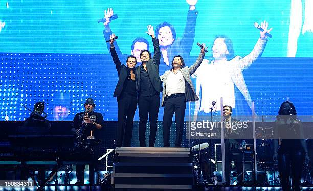 Marc Anthony Chayanne Marco Antonio Solis perform during the 2012 Gigantes Tour at HP Pavilion on August 26 2012 in San Jose California