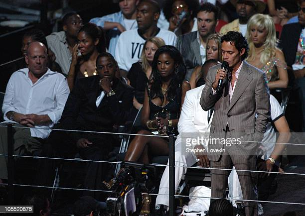 Marc Anthony introduces Kanye West's performance during 2004 MTV Video Music Awards Show at American Airlines Arena in Miami Florida United States