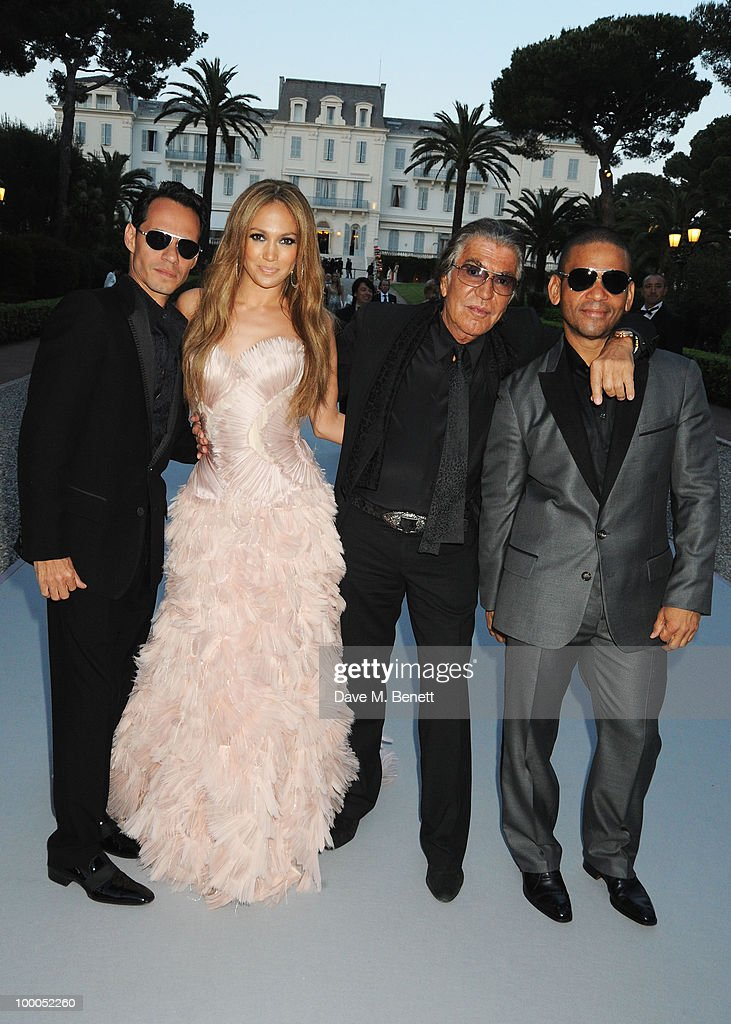 Marc Anthony, Jennifer Lopez, Roberto Cavalli and Benny Medina arrive at amfAR's Cinema Against AIDS 2010 benefit gala at the Hotel du Cap on May 20, 2010 in Antibes, France.