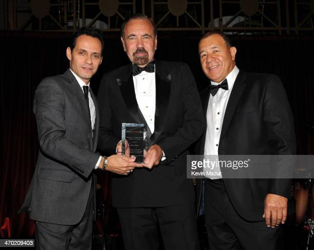 Marc Anthony Jorge Perez and Henry Cardenas pose onstage at the Maestro Cares First Annual Gala at Cipriani Wall Street on February 18 2014 in New...