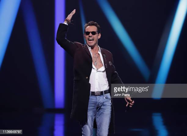 Marc Anthony performs on stage at Univision's 31st Edition Of Premio Lo Nuestro A La Musica Latin at American Airlines Arena on February 21 2019 in...