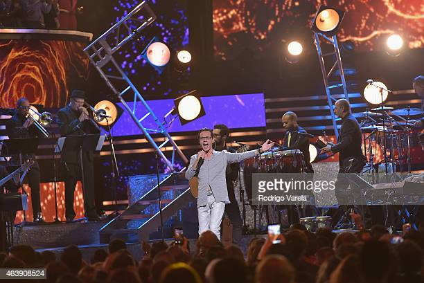Marc Anthony performs onstage at the 2015 Premios Lo Nuestros Awards at American Airlines Arena on February 19 2015 in Miami Florida
