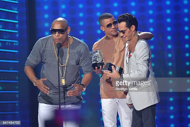 Marc Anthony Randy Malcom and Alexander Delgado of Gente de Zona attend the Univision's 13th Edition Of Premios Juventud Youth Awards at Bank United...