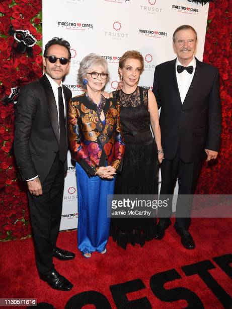 Marc Anthony Rita Moreno Marta Sahagún and Vicente Fox attend the 2019 Maestro Cares Gala at Cipriani Wall Street on March 14 2019 in New York City