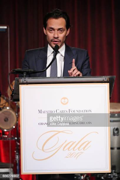 Marc Anthony speaks onstage at the Maestro Cares Foundation's fourth annual 'Changing Lives/Building Dreams' gala at Cipriani Wall Street on March 21...