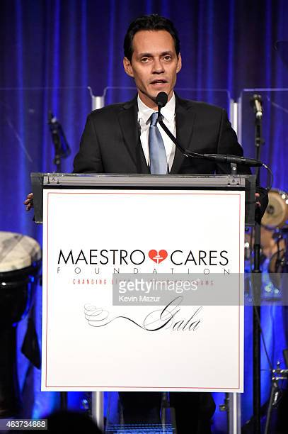 Marc Anthony speaks onstage during Maestro Cares Second Annual Gala Dinner at Cipriani Wall Street on February 17 2015 in New York City