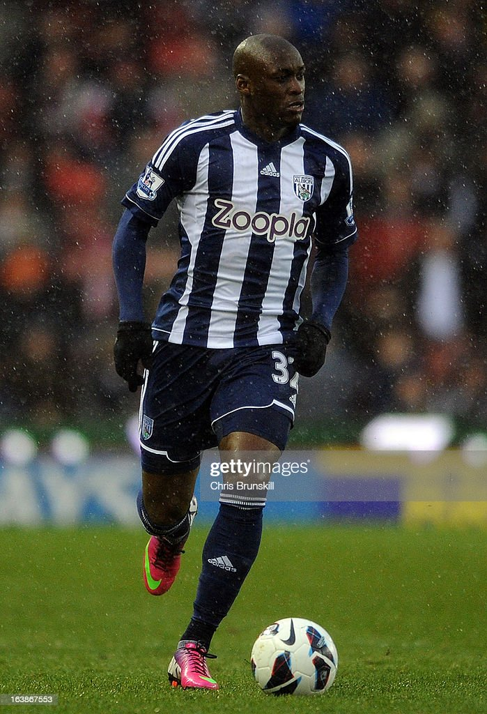 Marc Antoine-Fortune of West Bromwich Albion in action during the Barclays Premier League match between Stoke City and West Bromwich Albion at Britannia Stadium on March 16, 2013 in Stoke on Trent, England.