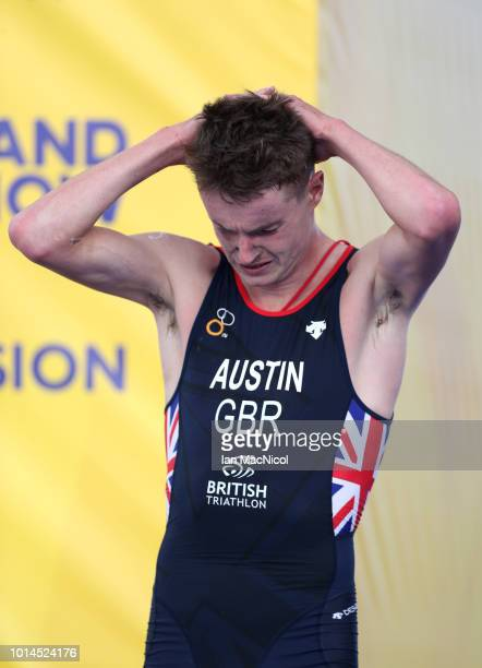 Marc Austin of Great Britain looks dejected after the Men's Triathlon Final on Day Nine of the European Championships Glasgow 2018 at Strathclyde...