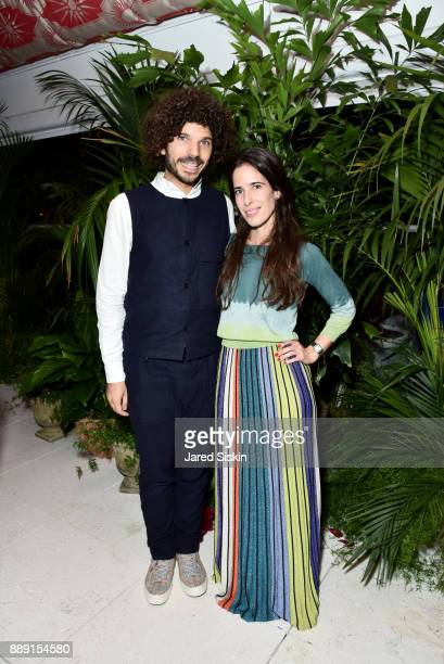 Marc Azoulay and Marie Salome Peyronnel attend the Gucci X Artsy dinner at Faena Hotel on December 6 2017 in Miami Beach Florida