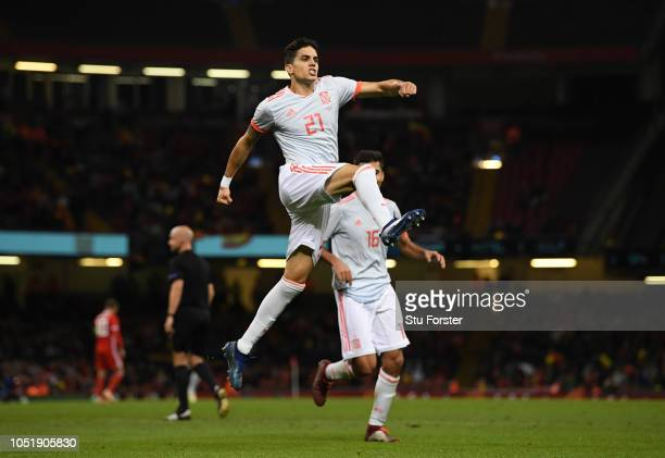 Marc Barta of Spain celebrates as he scores his team's fourth goal during the International Friendly match between Wales and Spain on October 11 2018...