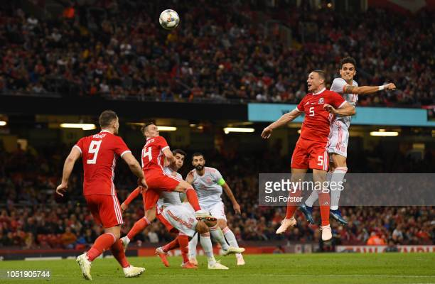 Marc Barta of Spain outjumps James Chester of Wales as he scores his team's fourth goal during the International Friendly match between Wales and...