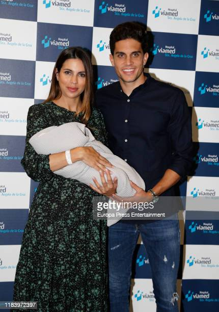 Marc Bartra and Melissa Jimenez present their newborn son Max on October 28 2019 in Seville Spain